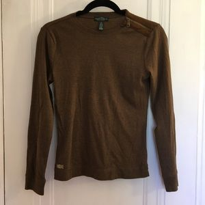 Long Sleeve Shirt with Suede Details